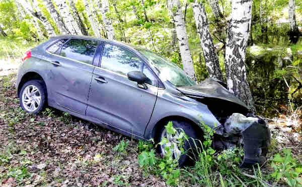 В Шадринском районе автомобиль с двумя детьми врезался в дерево